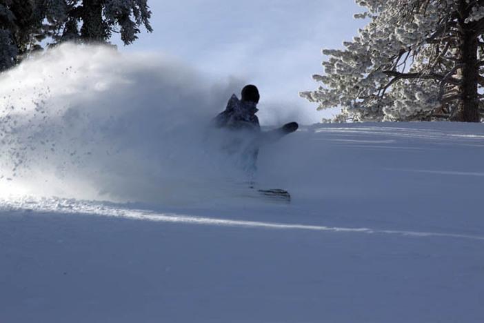 Fresh powder flying on Vertigo.