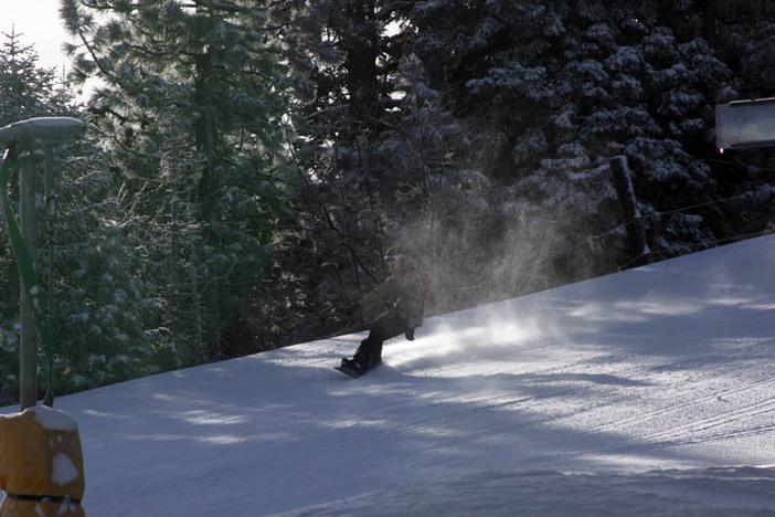 Shredding the new snow.