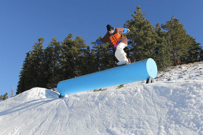 Boardsliding the Trojan Horse on Upper Chisolm.