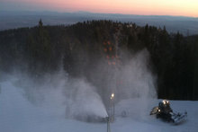 Top-to-bottom snowmaking last night at the West Resort.