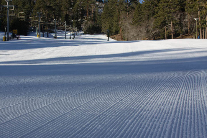 Perfectly groomed corduroy just waiting for you to carve.