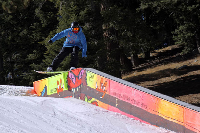 X-Games rider Nick Thorley nose pressing the newly painted Kinked Box.