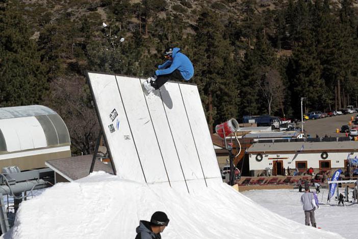 X Games rider Ian Thorley high up on the Playground wallride.