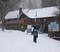 Fresh snow covers the Bullwheel Bar & Grill.