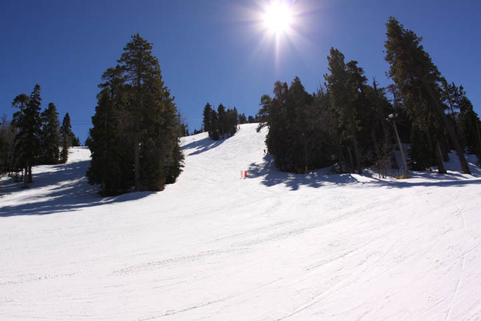 Bright blue skies over Headwall and Freefall.