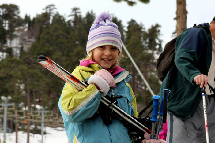 Ready for her ski lesson.