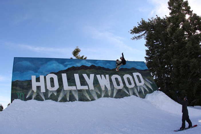 Team riders sliding the Hollywood wallride during their recent shoot.