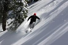 Dan Sherman diving into the steeps.