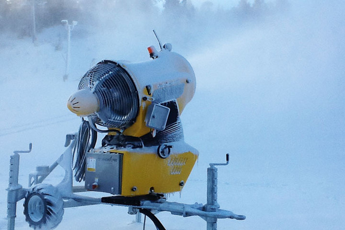 One of our all new snow guns spreading the white stuff.