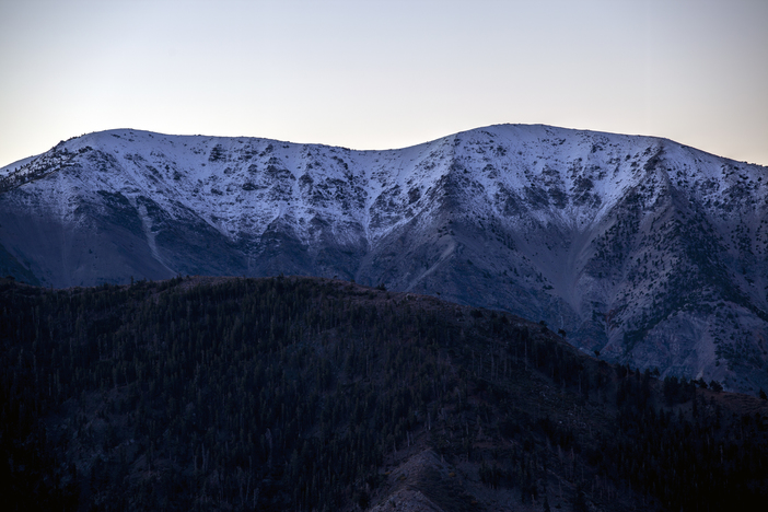 Mt. Baldy getting a nice coat of white overnight.