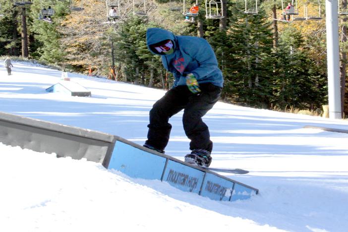 Backside Boardslide on the banked box.