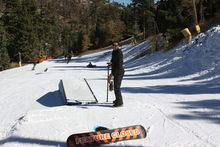 Mountain High's park staff ensuring the feature is ready to go.