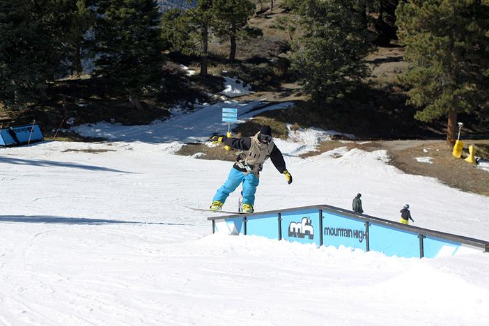 Floen having fun on the A-Frame rail.