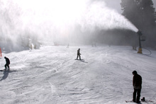 Cold temperatures and clear skies equal prime snow blowing conditions.