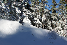 Carving those powder stashes on lower chisolm.