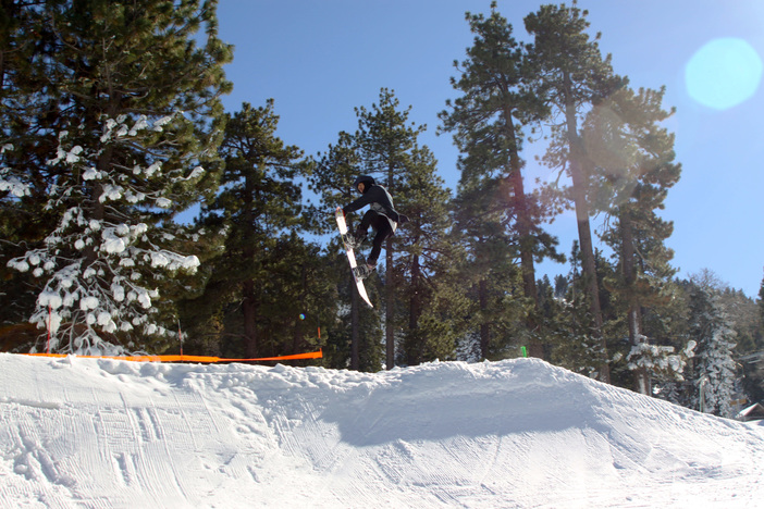 Khunie with the seatbelt grab on the new jump on creekside.