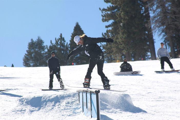 Boardslide on the double barrel rail.