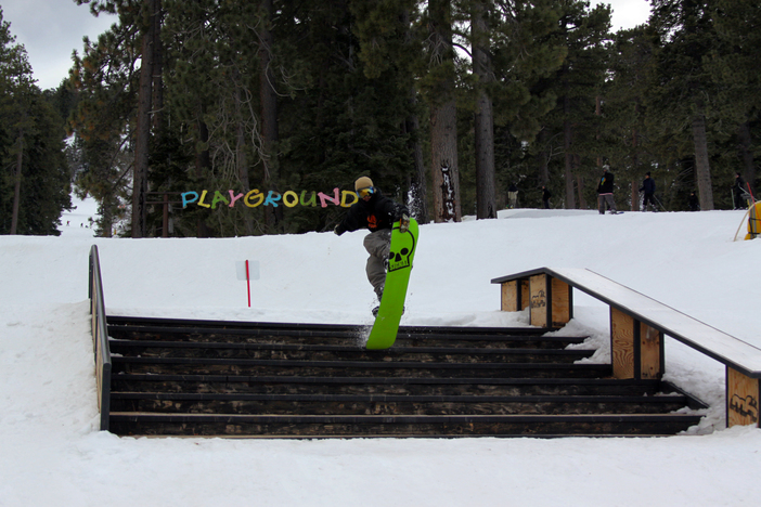 Schroeder with a nose grab firecracker on the stairset.