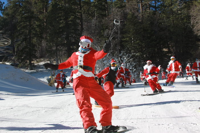 #MHSantaSelfie your pics on Instagram and Twitter for a chance to win a Never Summer Snowboard.