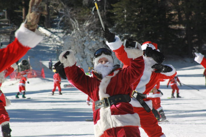 Get those selfies online!! Use hashtag #MHSantaSelfie for a chance to win a Never Summer Snowboard!