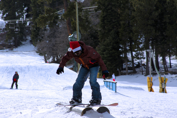 Practicing those boardslides on the double bazooka tubes.