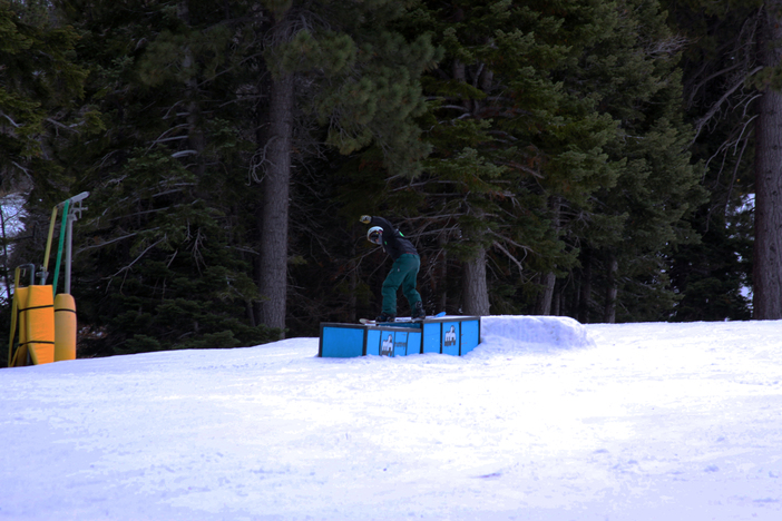 50/50 to boardslide on the tiered boxes.