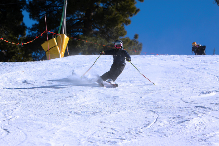 Carving up that packed powder on Wyatt.