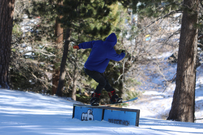 Getting Steezy on the skate style rail on Creekside.