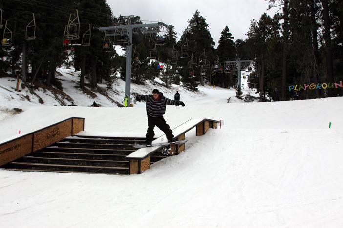 Backsdie Boardslide on the Active Stairset.