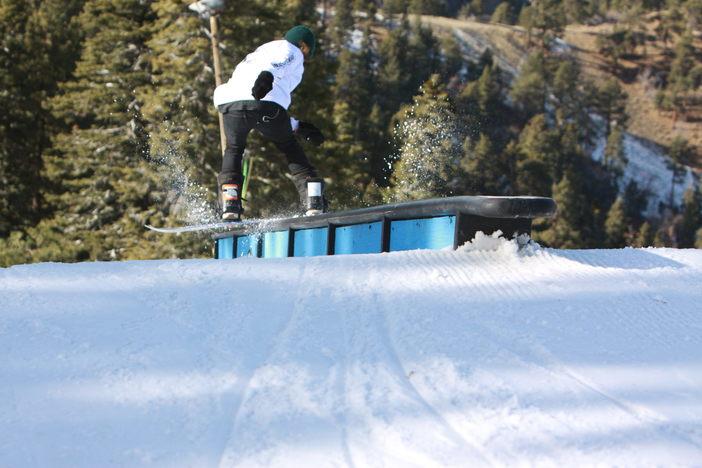 Boardslide on the ledge rail.