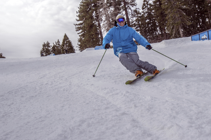 Carving up the packed powder on Lower Chisolm.