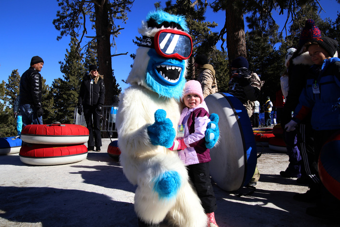 Yeti visiting the young tubers at the North Pole Tubing Park.