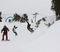 Party line through snow berms.