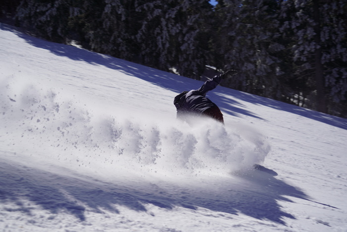 Carving up the packed powder on Wyatt.