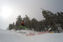 Catching air on the Lower Chisolm Jump