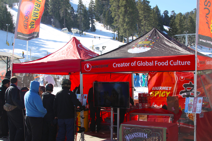 Nongshim Noodles feeding the masses at the Nongshim Pro/Am Slopestyle.