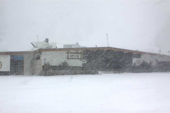 Snowing hard at the base of East.