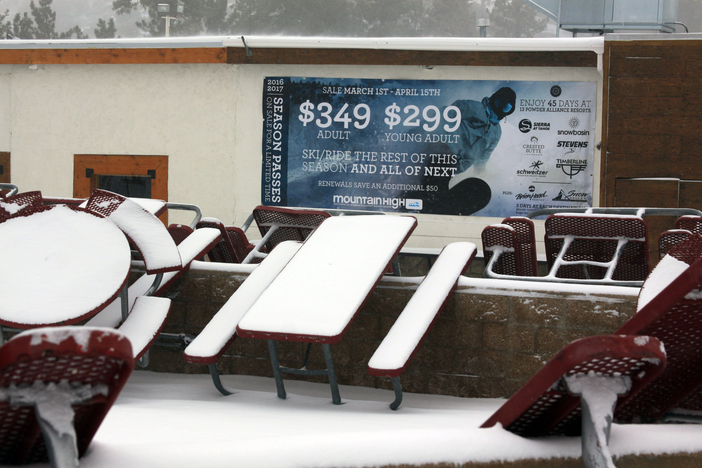 Tables poised waiting for more snow.