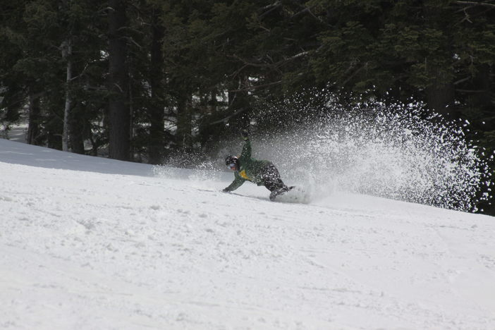 Carving through that fun spring snow.