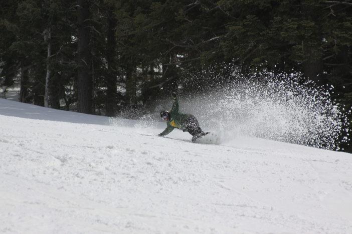 Carving through that fun spring snow.