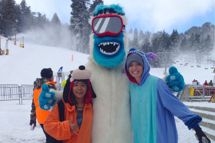 The Yeti made some friends on the hill.