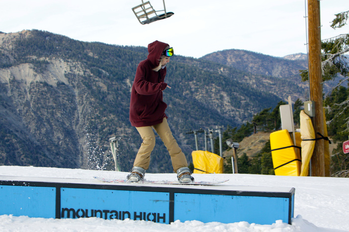Jibbin' the box with Mt. Baden-Powell in the background.