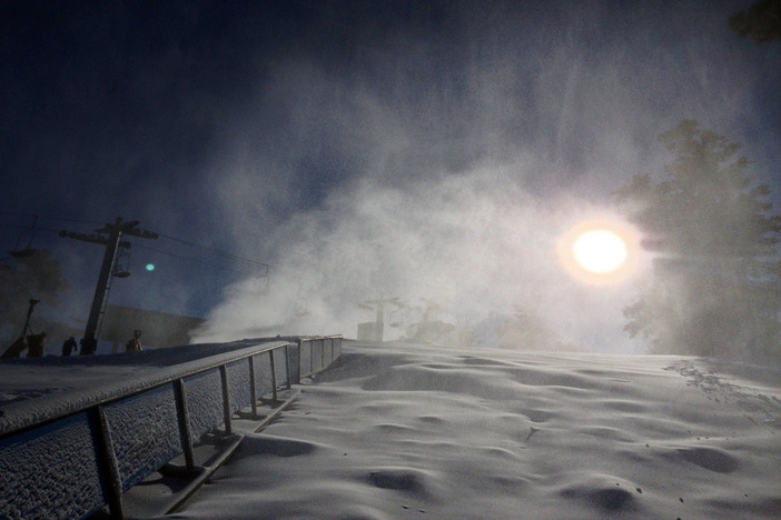 Snowmaking at the top of Upper Chisholm.