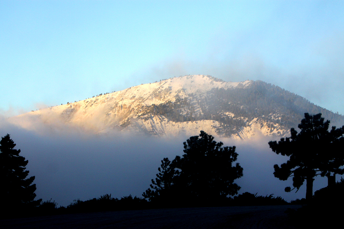 Light snow covers Mt Baden Powell this morning.