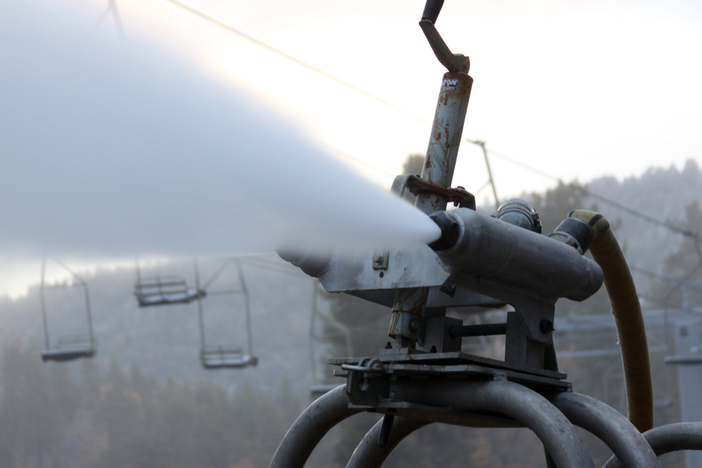 Getting close and personal with snowguns.