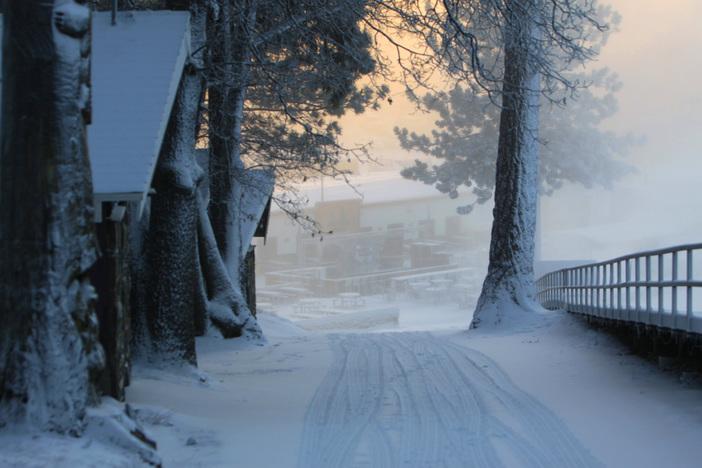 A snowy look down the Bullwheel road.