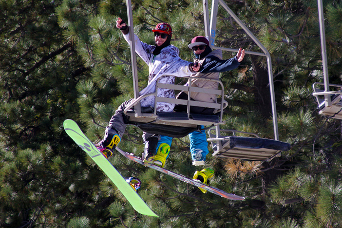 Lift rides with best buds.