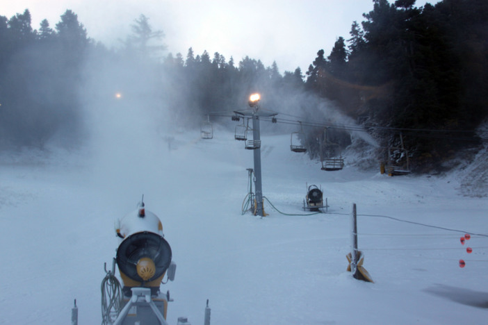 Lower Chisholm snowmaking. View from the top of the Coyote lift.