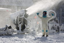 The Yeti couldn't be more excited about the new snow.